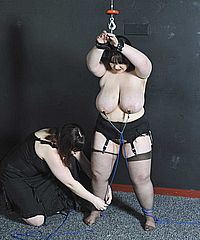 Chubby uk fetishmodel Adele Hazes lesbian domination and big tit torture by vicious femdom Nimue from Nimues World