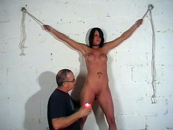Nipple stretching agony and tit torments of busty bondage babe Daniella from The Pain Files