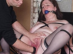 Bizarre bound fisting and ballgagged pussy pain for mature submissive british slavegirl Jay from Shadow Slaves