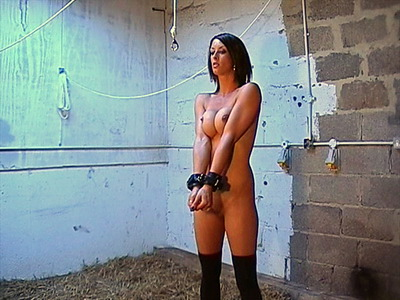 Busty Daniela tied and whipped in English bdsm films from a dungeon tit torture session of the british slave slut in nipple clamped agony and hardcore pain from The Pain Files