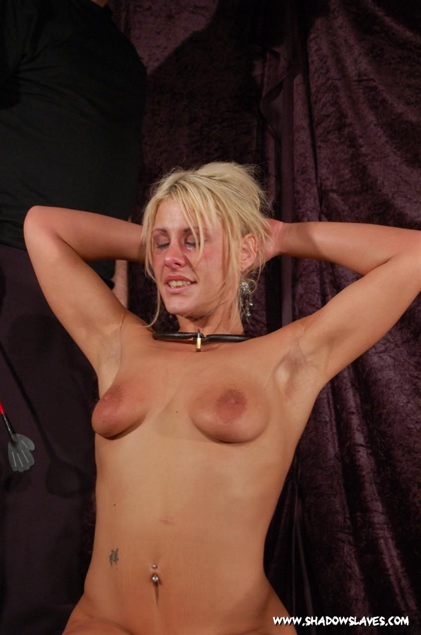 Brown-haired person Flogging tits
