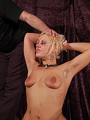 Crying slavegirl Crystel Leis painful caning and extreme breast whipping punishment from Shadow Slaves