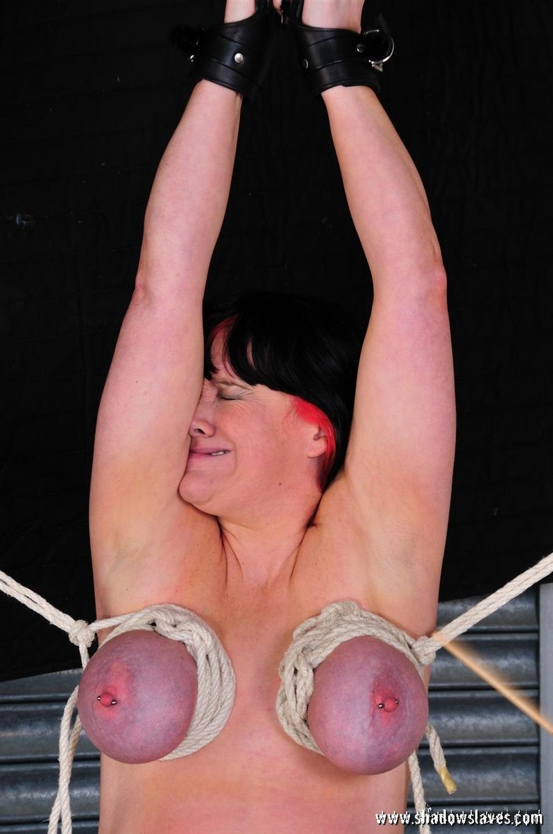 Tied tits bdsm whipping