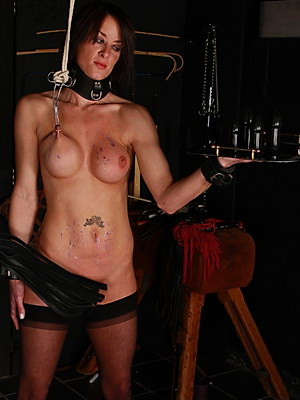 Submission excersice and busty bdsm of nipple tormented slavegirl Danii Black from Shadow Slaves