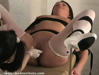 Deep lesbian fisting and mature medical domination of kinky Shaz from Shadow Slaves