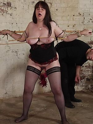 Slavegirl Jays mature bondage and extreme pussy whipping in the dirty dungeon from Shadow Slaves