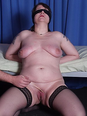 Blindfolded mature amateur slavegirl Jays extreme needle piercing pain and tit torments from Shadow Slaves