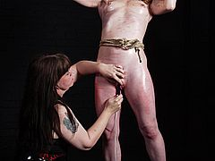 Madisons lesbian breast punishment and extreme caning in bondage and intense domination from Shadow Slaves