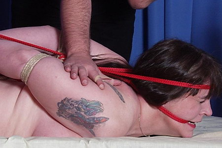 Uk Fetish slave Jays mature bondage and hogtied domination in the bedroom from Shadow Slaves