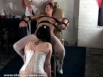 Pussy licked kinky slave Shaz in medical bondage and electro pain from Shadow Slaves