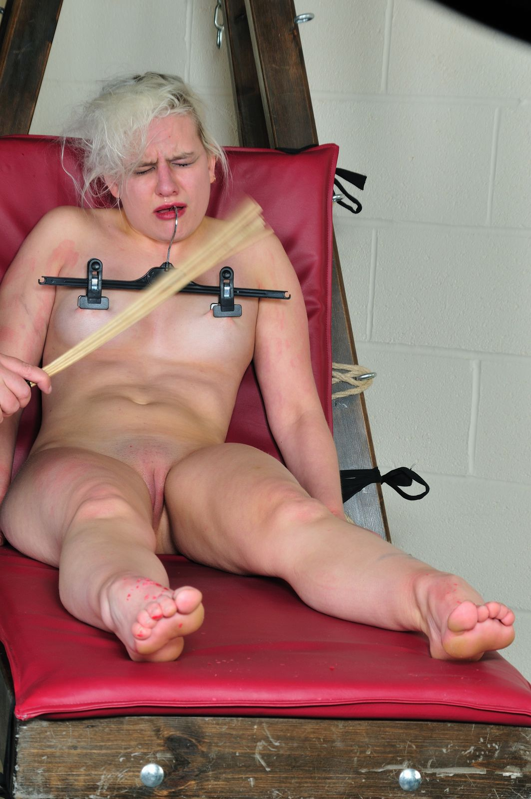 Blonde nipple torture
