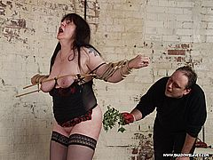 Bound dungeon slavegirls extreme stinging nettle bdsm and screaming tit torments of mature submissive Jay from Shadow Slaves