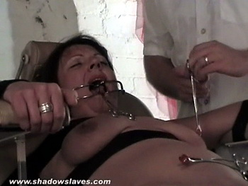 Lesbian medical bdsm and extreme pussy pain for mature slavegirl Shaz from Shadow Slaves