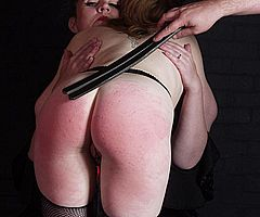 Lesbian spanking and kinky bare bottom discipline of american bdsm slave and fetish model Madison from Shadow Slaves
