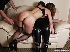 Erotic lesbian pussy licking and red bottom spanking for Emma Louise from Shadow Slaves