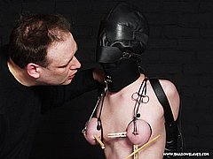 Gimp masked slavegirl Cherry Torns extreme tit torments and pussy pain from Shadow Slaves
