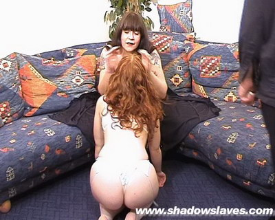 Bootlicking redheaded submissive Kimberleys lesbian domination and lezdom leather boot worshipping from Shadow Slaves